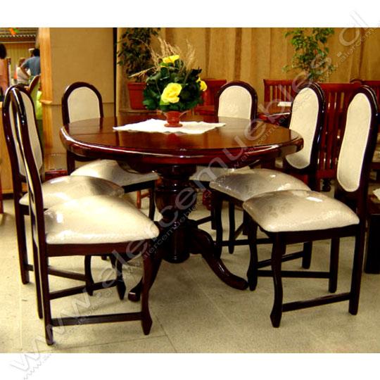 Juego de Comedor (Color Coñac) Mesa redonda con extencion ...
